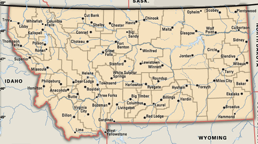 Montana Powder Coaters CustomCoaterscom - Montana map